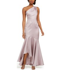 adrianna papell one-shoulder ruffled mermaid gown