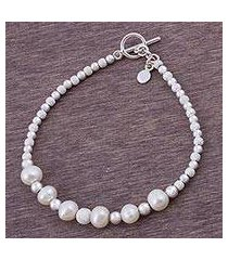 cultured pearl beaded bracelet, 'brilliant enchantment' (peru)