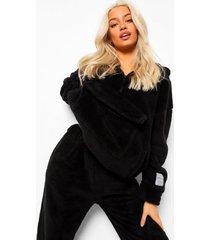 nepwollen oversized hoodie met zak detail, black