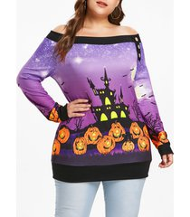 plus size off shoulder pumpkin sweatshirt