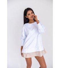 ciao bluza z ozdobną falbanką w białym kolorze