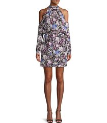 floral off-the-shoulder silk mini dress