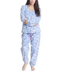 muk luks printed dimple fleece cozy pajama set
