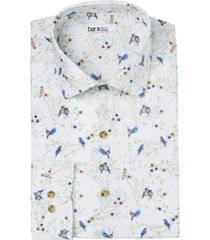 bar iii men's slim-fit performance stretch scenic robin-print dress shirt, created for macy's