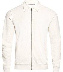 orlebar brown brendon zip through towelling sweatshirt | white | 273814-wht