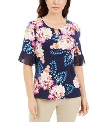 jm collection liza floral-print keyhole top, created for macy's