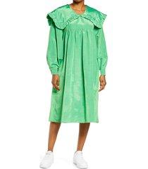 women's kkco sailor collar long sleeve midi dress, size large - green