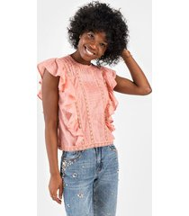 anahi ruffled crochet blouse - pink