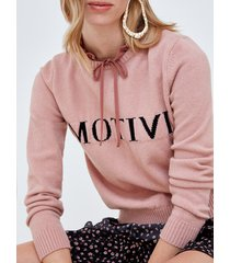 motivi maglia girocollo con scritta jacquard donna rosa