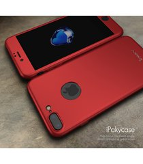 iphone 7 plus 360 full body cover shock defense case w/ glass screen (red)