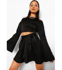 blouse met fluitmouwen en rok met ceintuur, black