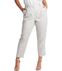 plus size women's estelle huntington linen blend crop pants, size 4x - beige