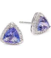 14k white gold tanzanite & diamond triangle stud earrings
