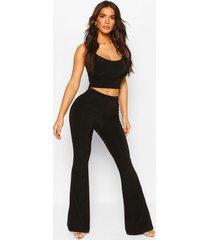 setje met strappy kort topje en uitlopende broek, zwart