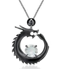 natori dragon slider pendant necklace, women's, silver natori