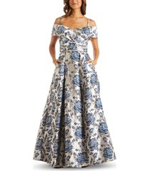 nightway floral-brocade cold-shoulder ball gown