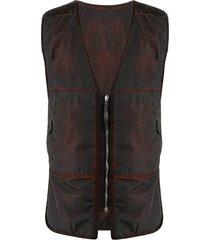 11 by boris bidjan saberi dark-wash gilet jacket - red