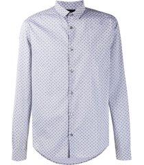 emporio armani micro eagle pattern shirt - grey