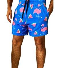 shorts j10 estampado tactel com elastano estampa flamingo verão.1033 rosa