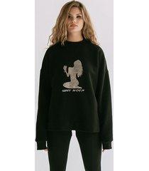 bluza czarna z brokatowym nadrukiem
