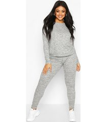 plus rib oversized top + jogger co-ord, grey