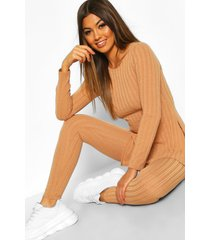 geribbelde long line top en leggings set, kameel