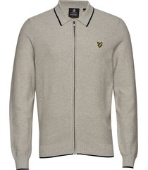 knitted tipped zip through gebreide trui cardigan grijs lyle & scott
