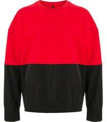 blackbarrett colour-block cotton sweatshirt - red
