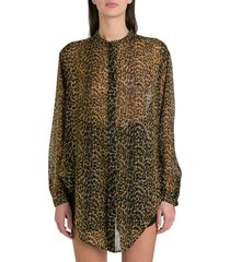 saint laurent oversized tie-up shirt in leopard-print wool etamine