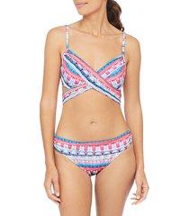 la blanca women's global jive wrap bikini top - bird of paradise - size 10