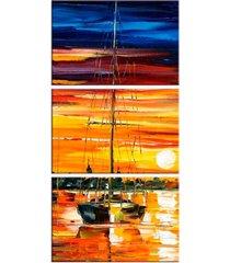 conjunto de telas decorativa barco a vela grande love decor - kanui