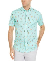 club room men's cocktail print short sleeve shirt, created for macy's