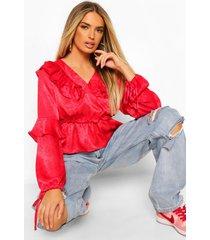 jacquard blouse met ruches, red