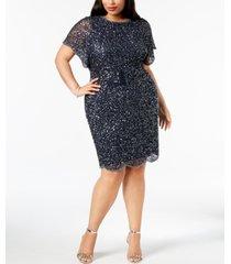 adrianna papell plus size beaded flutter-sleeve dress
