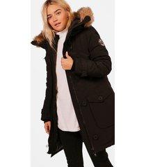 faux fur trim hooded padded jacket, black