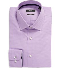 boss jesse slim fit mini check button-up shirt, size 15.5r in light/pastel purple at nordstrom