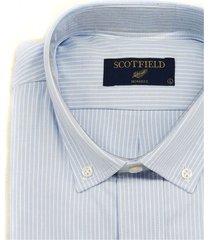 camisa celeste scotfield las vegas rayado clásica