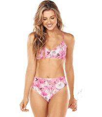 bikini tiro alto rosa lisantino