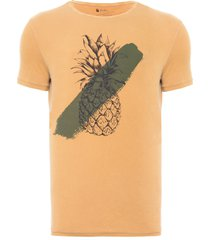 t-shirt masculina abacaxi aquarela - marrom