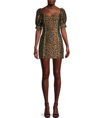 for love & lemons women's jett leopard-print mini dress - leopard - size s