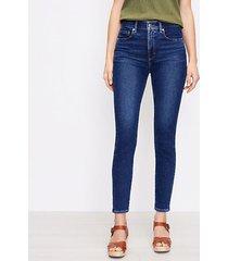 loft high rise skinny jeans in pure dark indigo wash