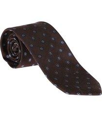 barba napoli brown virgin wool-silk blend tie