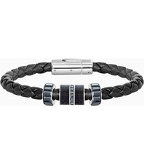 braccialetto diagonal, pelle, nero, acciaio inossidabile