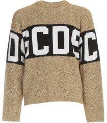 gcds logo lurex sweater l/s crew neck