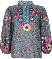 blouse met bloemenprint pauline  blauw