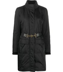 gucci belted padded coat - black