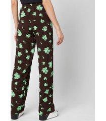 ganni women's printed crepe trousers - mole - eu 42/ uk 14