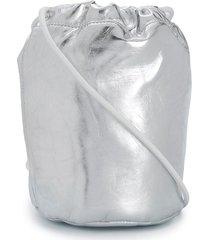 mm6 maison margiela silver drawstring bucket bag - grey