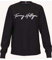 tommy hilfiger women's essential logo sweatshirt th deep black - l