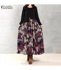 zanzea otoño vendimia de las mujeres flojas ocasionales del largo de la manga del algodón de la impresión de lino vestidos vestido largo maxi más el tamaño s-5xl (flor roja) -rojo